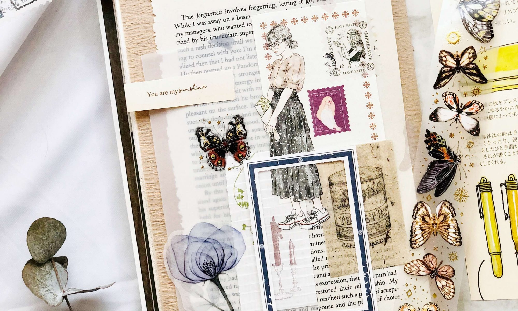 Taiwan Pion Girl Sticker Tape She Aesthetic Girl Sticker Hand Drawing Modern Girl Sticker Tape Art Journal