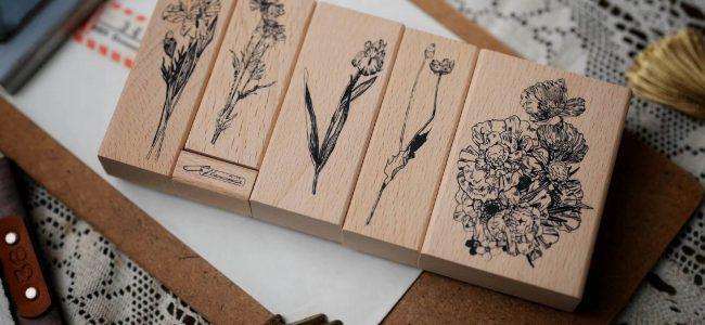 Benchu studio Botanic Illustration Vintage Wooden Stamp Set for Junk Journal Ephemera