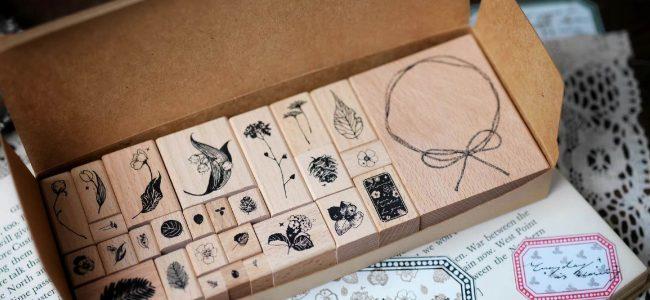 Benchu studio Florals and Fruits Vintage Wooden Stamp Set for Junk Journal Ephemera