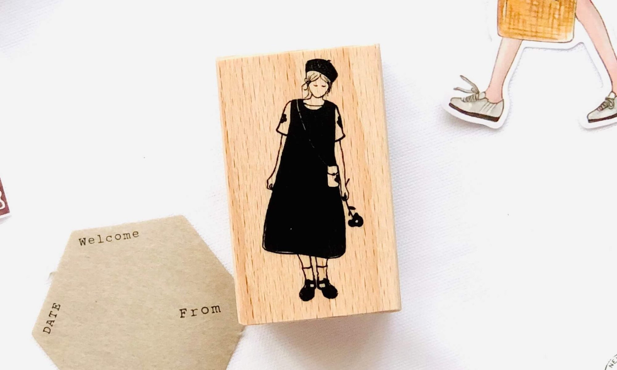 Forest Girl Taking Rest Wooden Stamp